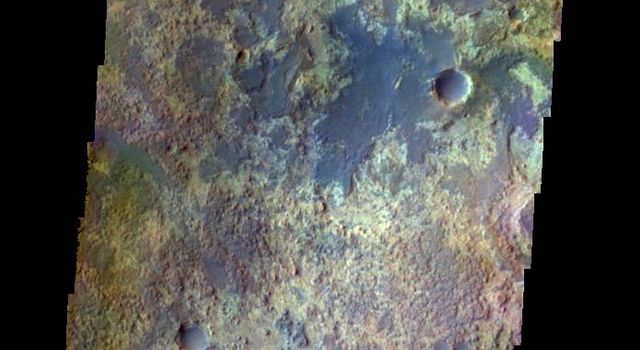 The THEMIS VIS camera contains 5 filters. The data from different filters can be combined in multiple ways to create a false color image. This false color image from NASA's 2001 Mars Odyssey spacecraft shows some of the plains of Arabia Terra.