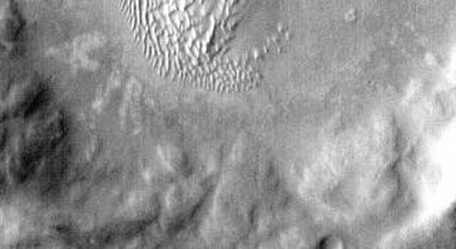 This IR image from NASA's 2001 Mars Odyssey spacecraft shows a dune field on the floor of an unnamed crater in Noachis Terra. The bright tone indicates the dunes are warmer than most of the material surrounding them.