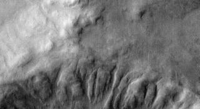 This infrared image captured by NASA's 2001 Mars Odyssey spacecraft shows dunes in an unnamed crater in Noachis Terra.