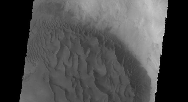 This image captured by NASA's 2001 Mars Odyssey spacecraft shows a large sand sheet with surface dune forms on the floor of an unnamed crater in Noachis Terra.