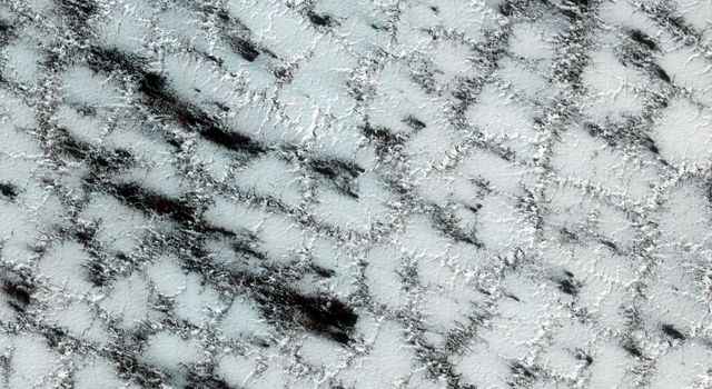 The dark fans in this image are made up of small particles from the surface deposited on top of the seasonal layer of ice; carbon dioxide ice still covers much of the surface at this high latitude site observed by NASA's Mars Reconnaissance Orbiter.