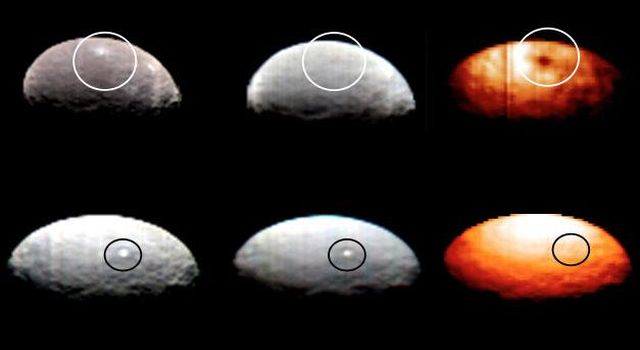 These images, from Dawn's visible and infrared mapping spectrometer (VIR), highlight two regions on Ceres containing bright spots. The top images show a region scientists have labeled '1' while the region labeled '5' is shown in the bottom images.