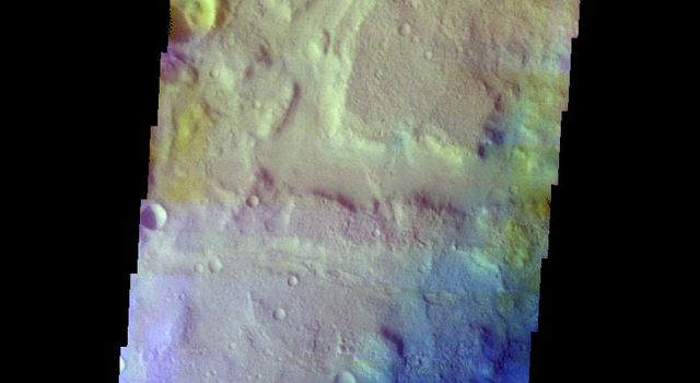 This false color image from NASA's 2001 Mars Odyssey spacecraft shows an unnamed channel on the margin between the higher elevations of Terra Cimmeria and the lower elevations of Elysium Planitia.