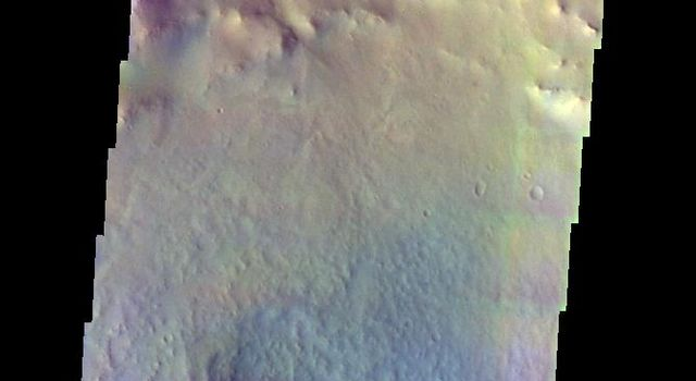 The THEMIS VIS camera contains 5 filters. Data from different filters can be combined in multiple ways to create a false color image. This image from NASA's 2001 Mars Odyssey spacecraft shows the central pit of an unnamed crater south of Coprates Catena.