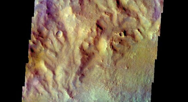 The THEMIS VIS camera contains 5 filters. Data from different filters can be combined in multiple ways to create a false color image. This image from NASA's 2001 Mars Odyssey spacecraft shows the inner rim and floor of an unnamed crater in terra Cimmeria.