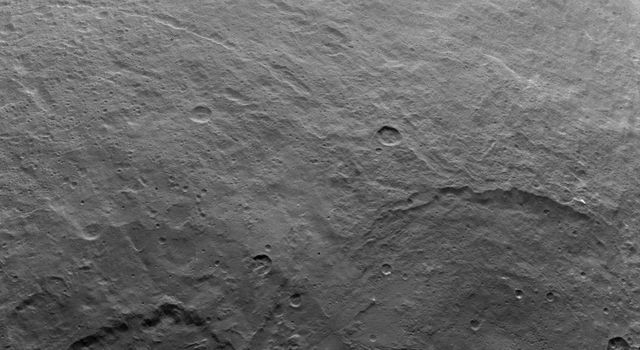 A variety of craters and other geological features can be found on dwarf planet Ceres. NASA's Dawn spacecraft took this image of Ceres from an altitude of 2,700 miles (4,400 kilometers) on June 5, 2015.