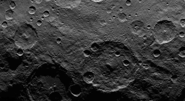 This image, taken on June 25, 2015 by NASA's Dawn spacecraft, shows a portion of the southern hemisphere of dwarf planet Ceres from an altitude of 2,700 miles (4,400 kilometers), with a resolution of 1,400 feet (410 meters) per pixel.