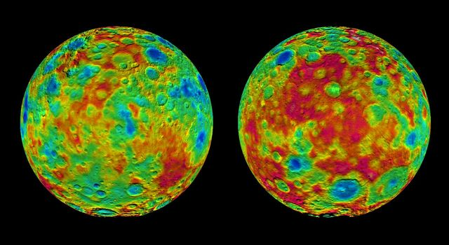This pair of images shows color-coded maps from NASA's Dawn mission, revealing the highs and lows of topography on the surface of dwarf planet Ceres.