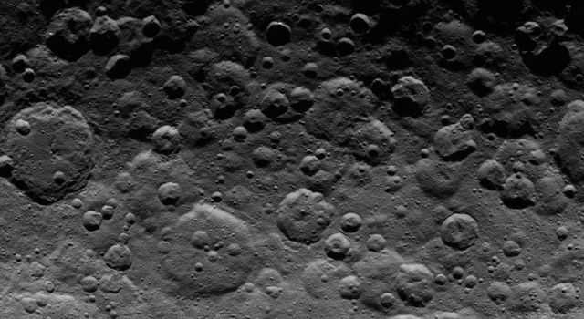 This image, taken by NASA's Dawn spacecraft on June 24, 2015, shows cratered terrain near the day-night line, called the terminator, on dwarf planet Ceres.