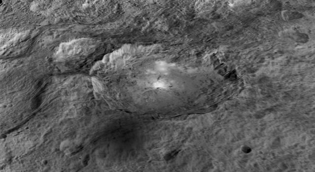 This frame from an animation from NASA's Dawn spacecraft shows intriguing bright spots on Ceres lie in a crater named Occator, which is about 60 miles (90 kilometers) across and 2 miles (4 kilometers) deep.