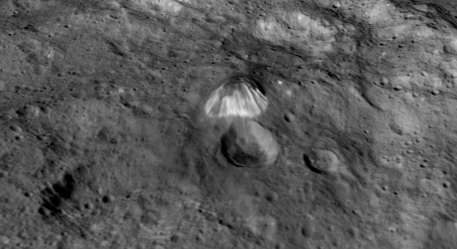 Among the highest features seen by NASA's Dawn spacecraft on Ceres so far is a mountain about 4 miles (6 kilometers) high, which is roughly the elevation of Mount McKinley in Alaska's Denali National Park.