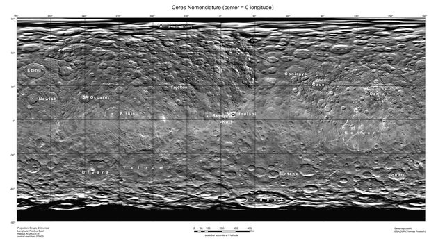 This map of Ceres, constructed from data collected by NASA's Dawn spacecraft, shows the dwarf planet's surface with features that have been named as of August 14, 2015.