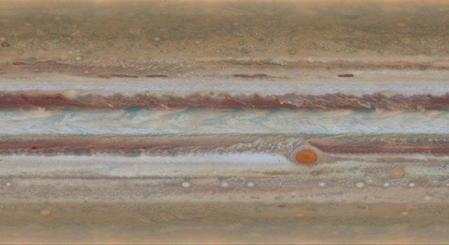 Scientists produced new global maps of Jupiter using the Wide Field Camera 3 on NASA's Hubble Space Telescope. One color map is shown here, projected onto a globe and as a flat image.