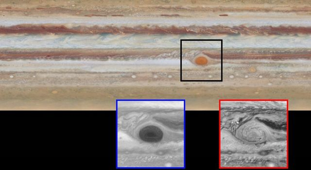 This image is one of two images from NASA's Hubble Space Telescope comparing the movement of Jupiter's clouds.