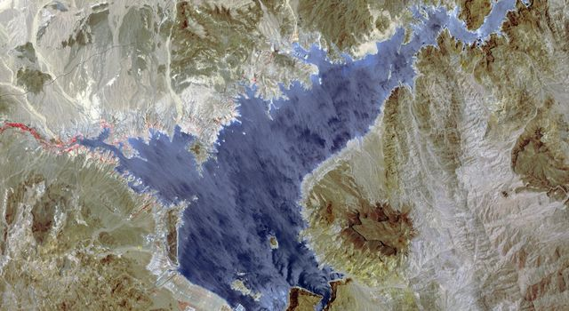 Lake Mead supplies water for Arizona, California, Mexico, and other western states. This image from NASA's Terra spacecraft shows the water level fell to 1075 feet, a record low.