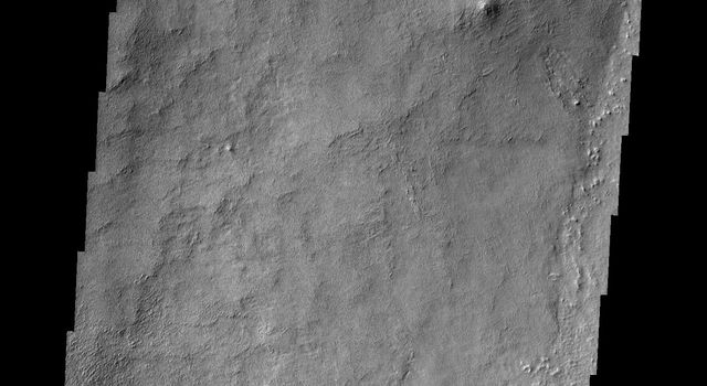 The ridge in the southern end of this image captured by NASA's 2001 Mars Odyssey spacecraft is part of an eroded crater rim, one of many such smaller impact craters that have collected on Schiaparelli's floor since it formed.