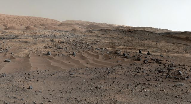A southward-looking panorama combining images from both cameras of the Mast Camera (Mastcam) instrument on NASA's Curiosity Mars Rover shows diverse geological textures on Mount Sharp.