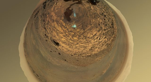 This version of a self-portrait of NASA's Curiosity Mars rover at a drilling site called 'Buckskin' on lower Mount Sharp is presented as a stereographic projection, which shows the horizon as a circle.