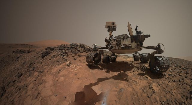 This low-angle self-portrait of NASA's Curiosity Mars rover shows the vehicle at the site from which it reached down to drill into a rock target called 'Buckskin' on lower Mount Sharp.