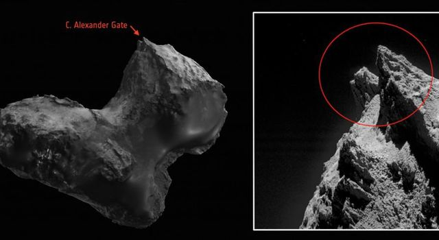 Scientists from the European Space Agency's Rosetta team have honored two late team members by naming comet features after them. The comet is 67P/Churyumov-Gerasimenko, where the mission successfully landed a probe.