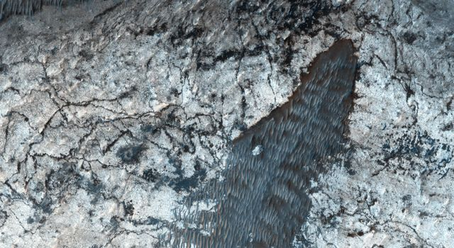 Most larger chasmata contain kilometer-thick light-toned layered deposits composed of sulfates. However, some of the chasmata, like Ius Chasma shown in this image from NASA's Mars Reconnaissance Orbiter, lack these deposits or have much thinner deposits.