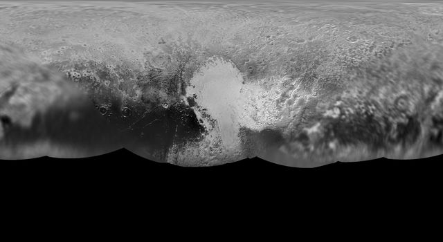 The science team of NASA's New Horizons mission has produced an updated global map of the dwarf planet Pluto. The map includes all resolved images of the surface acquired between July 7-14, 2015.