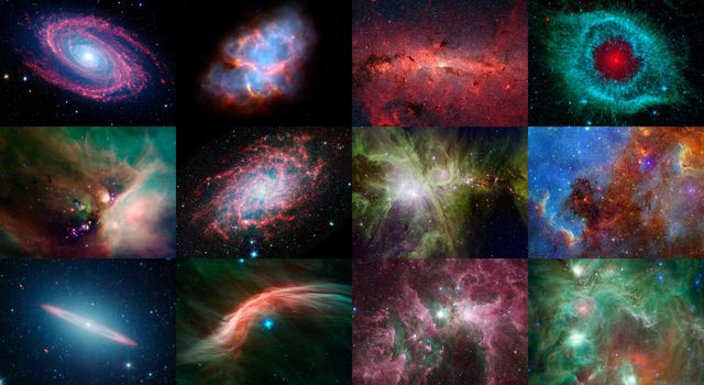 NASA's Spitzer Space Telescope celebrated its 12th anniversary with a new digital calendar showcasing some of the mission's most notable discoveries and popular cosmic eye candy.