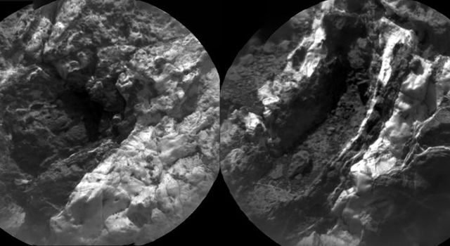 These images at 'Garden City' from the Chemistry and Camera (ChemCam) instrument on NASA's Curiosity Mars rover indicate similarly dark material, but with very different chemistries, in mineral veins.