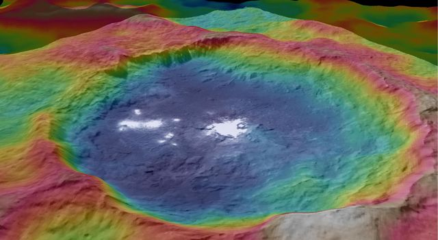 These views, made using images taken by NASA's Dawn spacecraft, are color-coded topographic maps of Occator crater on Ceres. Blue is the lowest elevation, and brown is the highest.