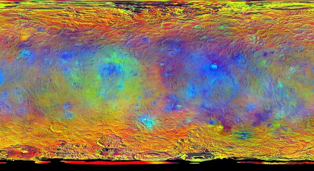 This map-projected view of Ceres was created from images taken by NASA's Dawn spacecraft during its high-altitude mapping orbit, in August and September, 2015.