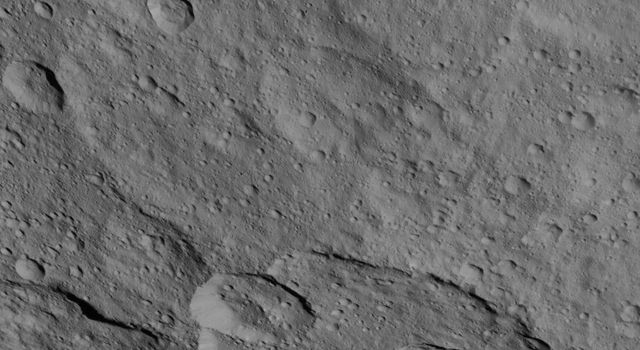 This image, taken by NASA's Dawn spacecraft, shows a portion of the southern hemisphere of dwarf planet Ceres from an altitude of 915 miles (1,470 kilometers). The image was taken on Sept. 20, 2015, and has a resolution of 450 feet (140 meters) per pixel.