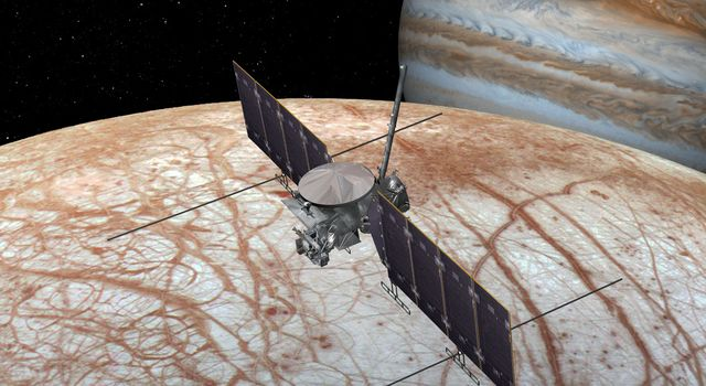This artist's rendering shows NASA's Europa mission spacecraft, which is being developed for a launch sometime in the 2020s.