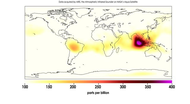 Carbon Monoxide in Mid-Troposphere over Indonesia Fires, October 2015