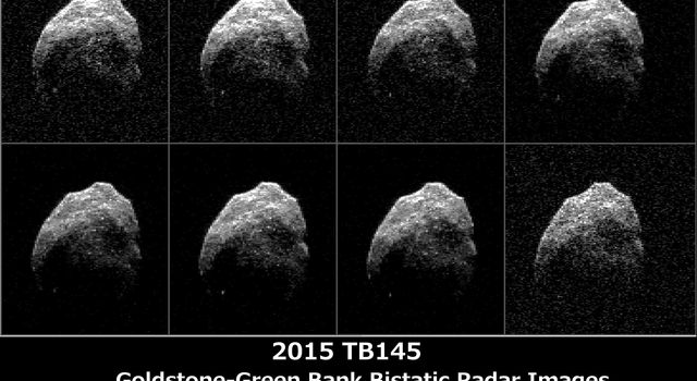 The 230-foot (70-meter) DSS-14 antenna at Goldstone, Ca. obtained these radar images of asteroid 2015 TB145 on Oct. 31, 2015.