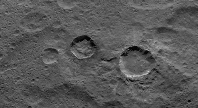 NASA's Dawn spacecraft captured this scene, showing southern mid-latitudes on Ceres, on Oct. 18, 2015, from an altitude of 915 miles (1,470 kilometers). It has a resolution of 450 feet (140 meters) per pixel.