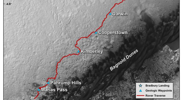 This map shows the route driven by NASA's Curiosity Mars rover from the location where it landed in August 2012 to its location in mid-November 2015, approaching examples of dunes in the 'Bagnold Dunes' dune field.
