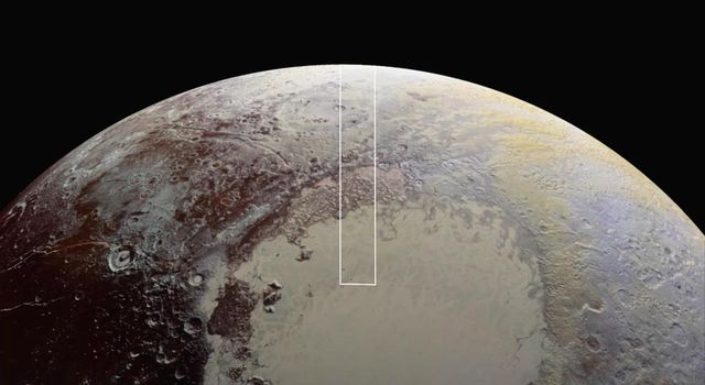 This frame from a movie is composed of the sharpest views of Pluto that NASA's New Horizons spacecraft obtained during its flyby of the distant planet on July 14, 2015.