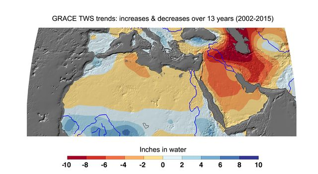 Cumulative Total Middle East/North Africa Freshwater Losses as Seen by NASA