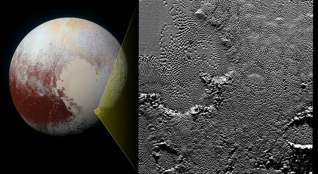 On July 14, 2015, the telescopic camera on NASA's New Horizons spacecraft took the highest resolution images ever obtained of the intricate pattern of 'pits' across a section of Pluto's prominent heart-shaped region, informally named Tombaugh Regio.