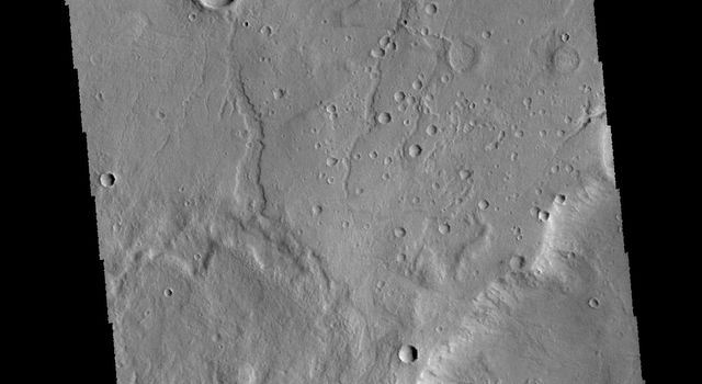 This image captured by NASA's 2001 Mars Odyssey spacecraft shows part of Tempe Terra. Both channels and graben are visible in this image.