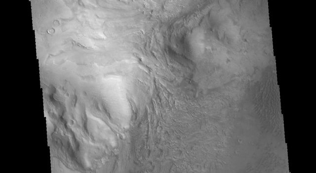 This image captured by NASA's 2001 Mars Odyssey spacecraft shows part of the central peak of Moreux Crater and the numerous sand dunes located on the crater floor.