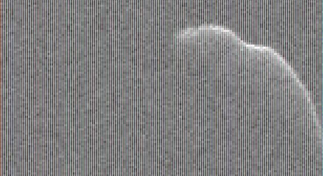 This image of an asteroid that is at least 3,600 feet (1,100 meters) long was taken on Dec. 17, 2015, by scientists using NASA's 230-foot Deep Space Network antenna at Goldstone, California.