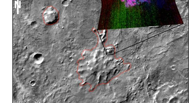 These mountains are in a region called Sisyphi Montes. The base image from NASA's 2001 Mars Odyssey shows a portion of the region about 130 miles. Red outlines indicate possible subglacial volcanic structures. MRO's CRISM data are at upper right.