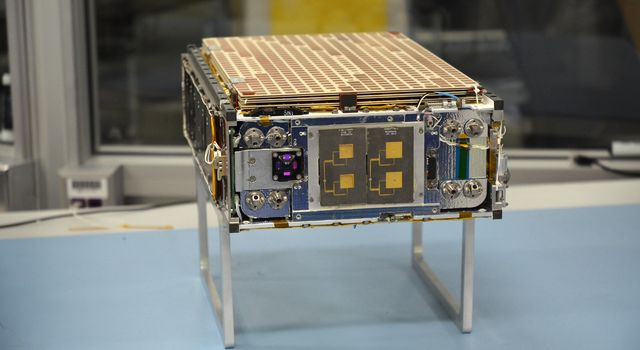 One of the two MarCO (Mars Cube One) CubeSat spacecraft is seen at NASA's Jet Propulsion Laboratory, Pasadena, California.