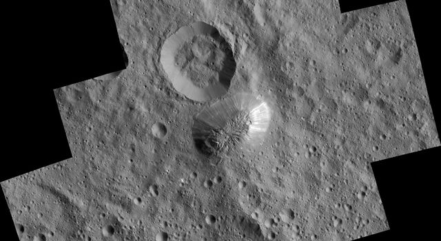 Ceres' mysterious mountain Ahuna Mons is seen in this mosaic of images from NASA's Dawn spacecraft, taken in December 2015.