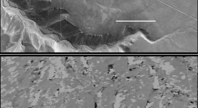 These two images from NASA's UAVSAR and Google Earth show the mesa-top site of Peru's Nasca lines World Heritage Site. The data collected will help Peruvian authorities fully catalog the thousand-year-old designs drawn on the ground.