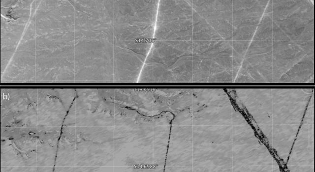 A protected area within the Nasca World Heritage Site in Peru that has experienced apparent disturbance between two different observations by NASA's Uninhabited Aerial Vehicle Synthetic Aperture Radar (UAVSAR).