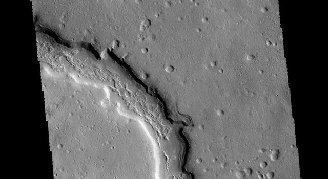 This image captured by NASA's 2001 Mars Odyssey spacecraft shows where several channels join together. These channels are located in Terra Sabaea.