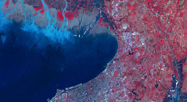 This image from NASA's Terra spacecraft shows Beihai, a city in the south of Guangxi, People's republic of China.