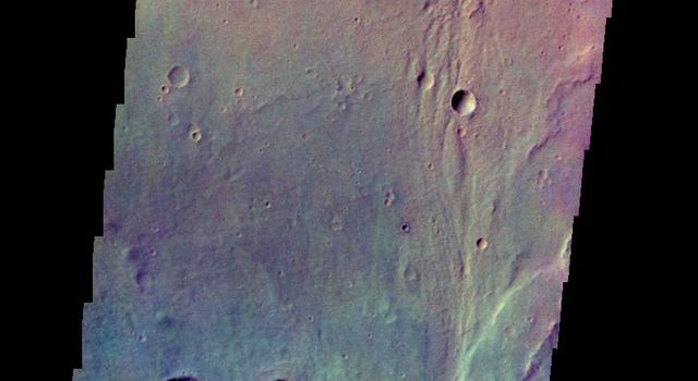 The THEMIS camera contains 5 filters. The data from different filters can be combined in multiple ways to create a false color image. This image from NASA's 2001 Mars Odyssey spacecraft shows part of Tyrrhena Terra.
